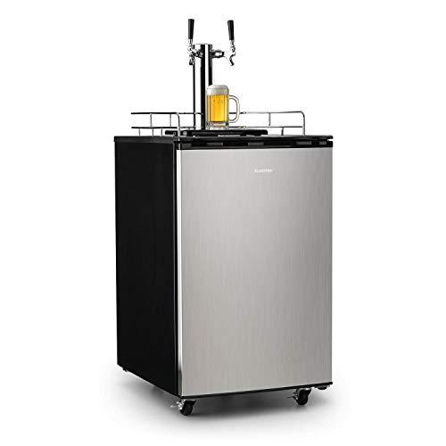 Klarstein Big Spender - Bierfass-Kühlschrank, Getränkefasskühlschrank, Komplettset, CO2 Fässer bis 50 L, 4 Bodenrollen, Temperatur regulierbar, inkl. 2 x Zapfsäule und Gasflasche, silber