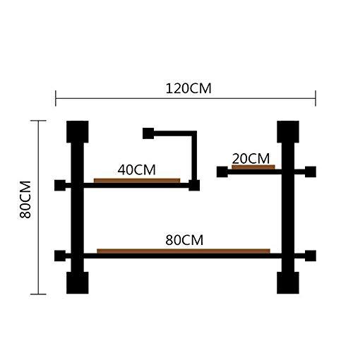 Axdwfd Estantería de tuberías industriales Estantería de Madera rústica Moderna Escalera de tuberías Estante de Pared IronPipe Design Librería DIY Estantería (Tamaño : 120×20×80cm)