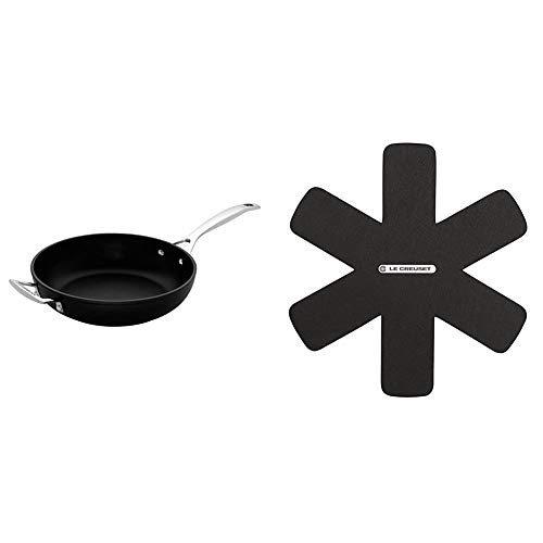 Le Creuset Toughened Non-Stick Deep Frying Pan, 30 cm, Black, 962002300 & Creuset Utensil Protectors, Adapted for All Types of casseroles, Black, 95003440140300