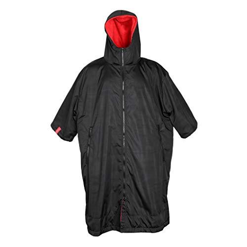 lahomia Cortavientos Chaqueta de Traje Largo Y Cambiante Abrigo de Invierno Anorak de Natación Poncho de Camping - Negro y Rojo