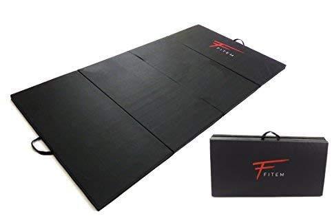 Fitem Tapis de Sol Pliable Epais Haute Gamme Taille 240 x 120 x 4 cm ou 180 x 60 x 4 cm avec Poignets de Transport pour Gym,Yoga,MMA, Sport, Gymnastique, Fitness, Pilates, Musculation