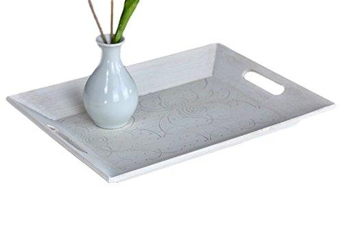 Elbmöbel Vassoio piatto in legno, 39 x 29 cm, stile shabby, con manici, colore bianco