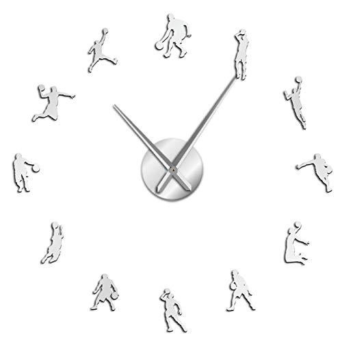 Jugadores de Baloncesto DIY Reloj de Pared Grande Baloncesto Slam Dunk Decoración de la Pared de la habitación del niño Reloj de Pared Gigante Reloj de Pared de Baloncesto Regalos