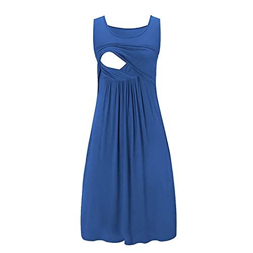 AMhomely Vestido de mujer con estampado elegante de la honda de la lactancia materna, embarazada, vestido de maternidad, vestido de fiesta, vestido de playa, talla Reino Unido