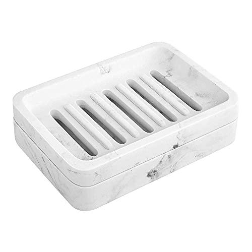 Dual SOAP con portasapone, vassoio di sapone drenante a doppio strato con fori, resina e stronzatore di sapone per doccia, lavandino da bagno, lavandino, sapone, scarica, cassa di sapone, tieni la tua