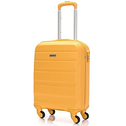 BONTOUR Handgepäckkoffer Hartschalenkoffer Klein Leicht Trolley Koffer 55x40x20 cm mit 4 Rollen (Gelb, M)