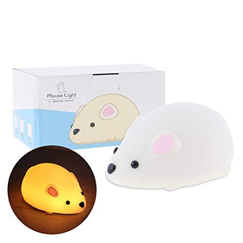 Global-Store - Lámpara de noche para niños, luz LED de silicona, portátil, funciona con USB, control de grifo, 2 modos de luz que cambian de color, el mejor regalo para niñas, niños y toddles