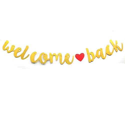 Welcome Back Banner Black Glitter Welcome Back Party Sign Returning Home Teenager Homecoming Home Coming Returning Home Hospital (Gold)