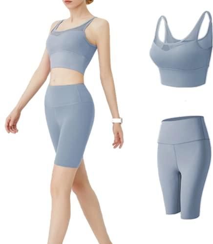 CK CrisKat Mujer Conjunto de Ropa Deportiva Secado Rápido Top y Pantalones Cortos Set 2 Piezas Ropa de Fitness para Gimnasio Yoga de Entrenamiento (S, Azul Claro)