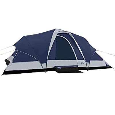 Pacific Pass Camping Tent 8 Person Family Dome Tent with Dividers Awning & Removable Rain Fly, Easy Set Up for Camp Backpacking Hiking Outdoor