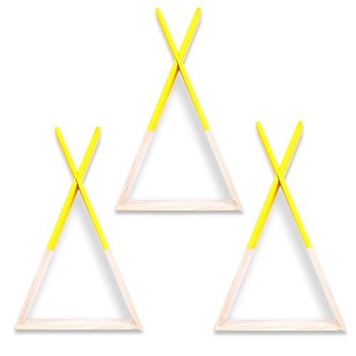 zanasta 3X Tipi Estante de Madera decoración de Montaje en Pared habitación Infantil niñas niños Amarillo