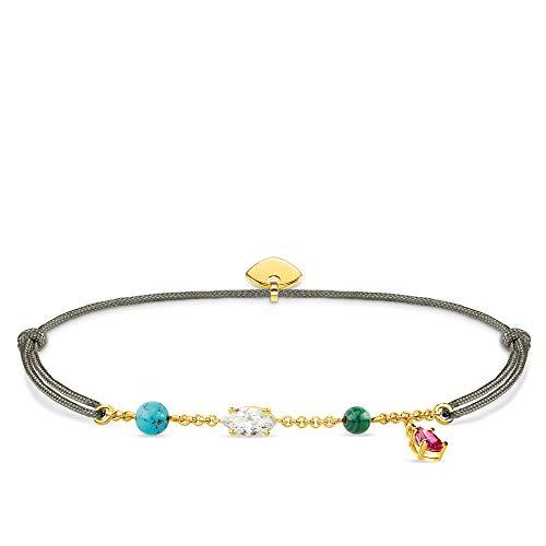 Thomas Sabo Damen-Armband Little Secret Farbige Steine 925er Sterlingsilber Gelbgold LS080-995-7-L20v