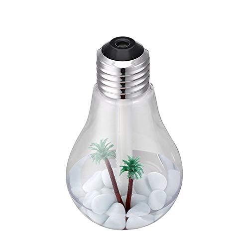 SSZZ LED De Colores Bombilla De Color Luz De La Noche del Humidificador, Mini USB del Hogar Silencioso Humidificador, Ultrasónico Micro-Hole Atomizador,Plata