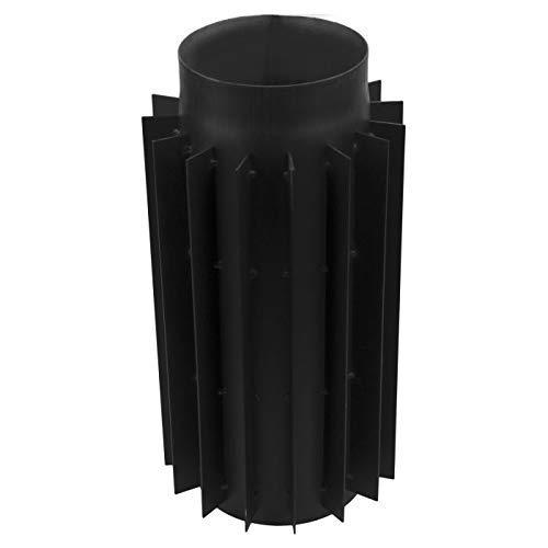 rg-vertrieb Ofenrohr Rauchrohr Kaminrohr Bogen Knie 45° 90° Doppelwandfutter Abgaswärmetauscher Radiator Wandrosette Stahlrohr Schwarz 2mm (120mm, Abgaswärmetauscher)