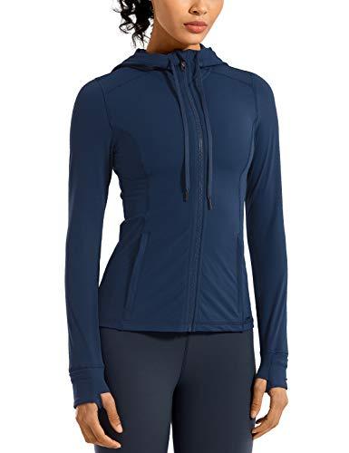 CRZ YOGA Damen Sport Jacke mit Kapuze Yoga Sweatshirts mit Daumenloch Laufjacke Voll Reißverschluss Zipper Seitentasche Propylenblau 40