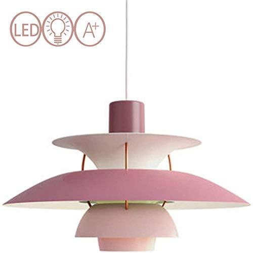 JXWANG PH5 Pendelleuchten,Moderne Kronleuchter Dänische Designer Licht Westlichen Kronleuchter Gradient Beleuchtung Deckenleuchte Wohnzimmer Bar-40cm (Grün Orange Pink Weiß),Pink-40cm