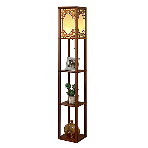 Indoor Moderne LED-plank Vloerlamp – Voor Woonkamer Slaapkamer – Standing Light – Solid Wood 3-layer Display-opslagplank…