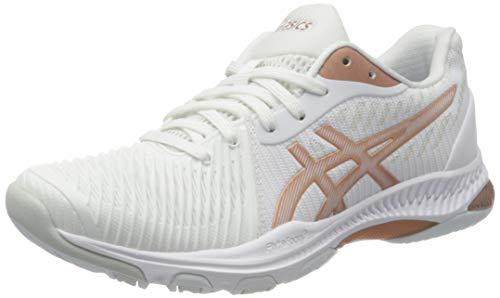 ASICS Damen Netburner Ballistic FF 2 Indoor Court Shoe, White/Rose Gold, 40.5 EU