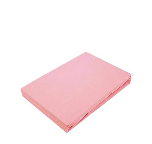 EXKLUSIV HEIMTEXTIL Marke Jersey Spannbettlaken Spannbetttuch Bettlaken Rundumgummizug 90-100 x 200 cm Rosa