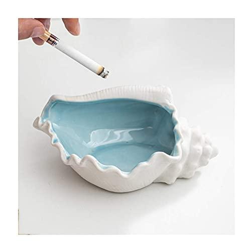 Exquisite ashtray Aschenbecher Conch-förmige Keramik Aschenbecher, Conch Blumentopf, Kreativ, Persönlichkeit, Wohnzimmer White Blue, Zigarren-Zigaretten-Eschal-Zigaretten-Zigarren-Aschenbecher (Farbe: