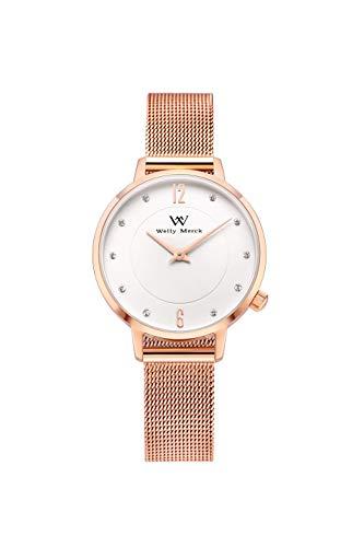 Welly Merck Damen-Armbanduhr Analog Schweizer Quarz Edelstahl Uhrenarmband (Rosegold)