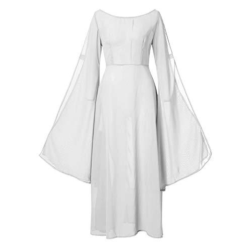 Hffan Damen Langarm mit Kapuze Mittelalter Kleid bodenlangen Cosplay Dress Age Mittelalter Kleidung Große Größen Renaissance Kostüm Lang Halloween Kostüm