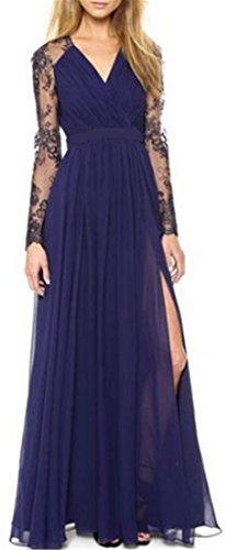 AILIENT Damen Elegant V-Ausschnitt Rückenfrei Durchbrochene Spitze Langärm Nähten Taille Kleid Schlanke Maxikleider Chiffon-Kleid Strandkleid Cocktailkleid Partykleid
