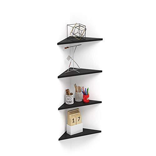 Mobili Fiver, Set de 4 estantes esquineros Modelo Easy, de Color Negro Ceniza, 36 x 36 x 51 cm