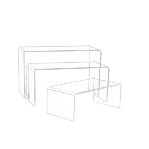 Exceart 3 Stück Acryl Display Riser 3 Größen Acryl Display Stand Klar Schaufenster Regal für Schmuck Figurensammlung Tasse Brille Schuhe Cupcake Buffet