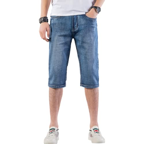 Katenyl Pantalones Cortos de Mezclilla para Hombre Moda Delgada Media Cintura Casual Trabajo de Oficina Clásico Pantalones Cortos de Mezclilla Rectos de Gran tamaño con botón 32