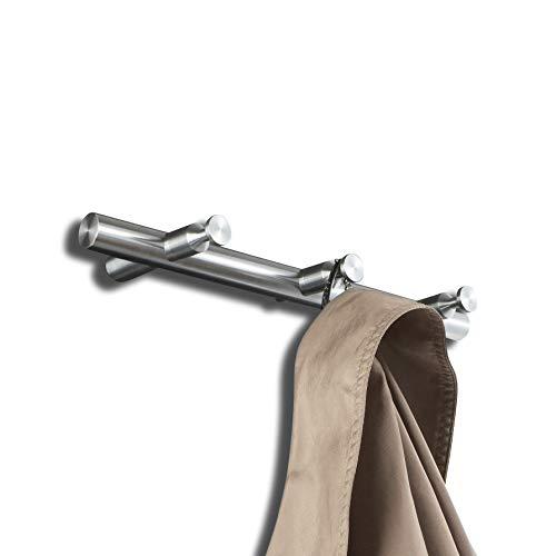 PHOS Edelstahl Design, HLS3, Hakenleiste mit 3 Wand-Haken aus Edelstahl, Garderobenhaken, Flurgarderobe, Kleiderhaken, Garderobenpaneel, Garderobenstange, Wand-Garderobe, Kleiderstange