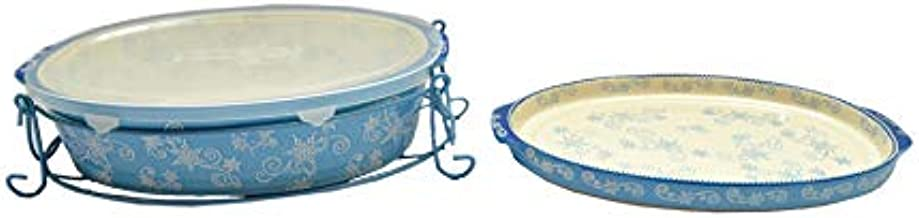 Temp-tations Floral Lace Bakeware Set - 4 Piece - Blue
