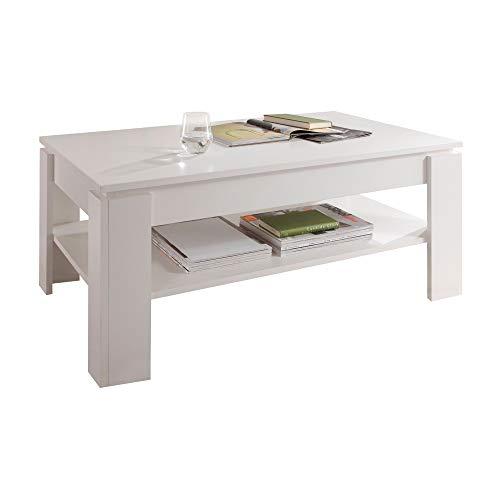 trendteam smart living Wohnzimmer Couchtisch Wohnzimmertisch Universal, 110 x 47 x 65 cm in Weiß Melamin mit zusätzlicher Ablagefläche