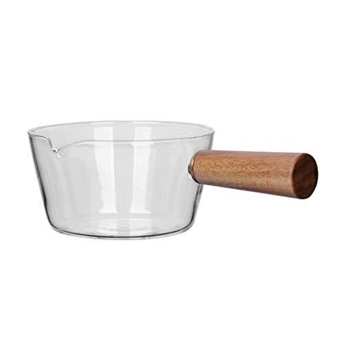 Liscio e confortevole: l'ampia maniglia è liscia e comoda da impugnare. Pratico per l'uso: adatto per 1-2 persone, formati comunemente usati per cucinare tagliatelle o latte caldo per insalate. Materiale di qualità: il vetro borosilicato è privo di p...