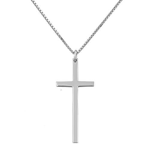 Poetic Charms S925 Sterling Silber Kreuz Anhänger Halskette Kette Schmuck für Herren