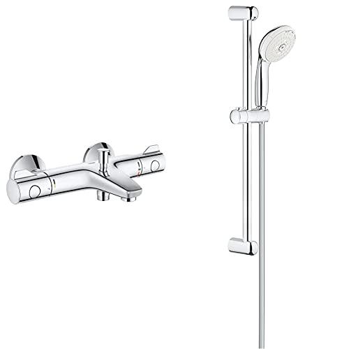 Grohe Grohtherm 800 - Termostato para baño y ducha, control de temperatura, inversor automático + Tempesta - Conjunto de Ducha con Barra, 3 Chorros, Cromo (Ref. 27794001)