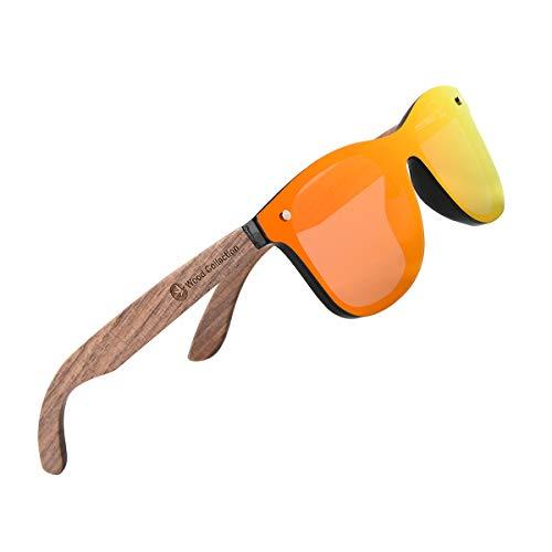 Frameless Wood Retro Sunglasses Polarized Siamese Sunglasses Orange Mirror
