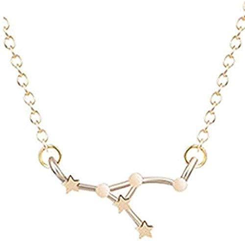 LDKAIMLLN Co.,ltd Collar Modo 12 Constelación Collar del Zodiaco para Mujer Joyería de Oro Leo Balance Aries Colgante Horóscopo Astgy Collar