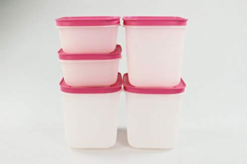 Tupperware EIS-Kristall Gefrier-Behälter 1,1L hoch (3)+ 450ml pink-weiß (2) 35584