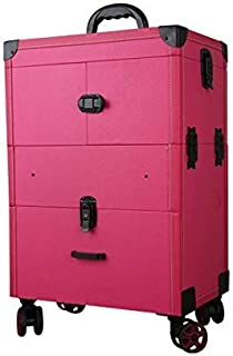 Nail Makeup Trolley Case Large Capacity with Drawer Cosmetic Case Suitcase Scroll Multilayer Beauty Salon Tattoo Trolley Suitcase - Black (Color : Pink)