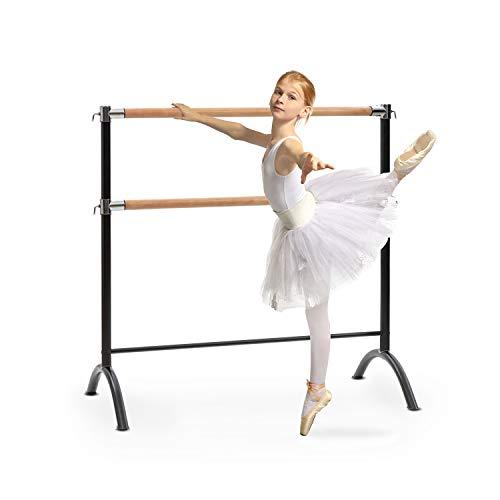 Klarfit Barre - Sbarra da Balletto, Indipendente, Libera Installazione, 2 x 38mm Ø, Tubi in Acciaio Verniciato a Polvere, Effetto Legno, 110 x 113 cm, Nero