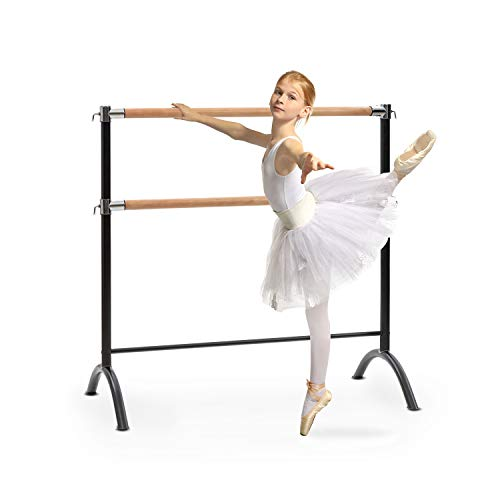 Klarfit Barre - Barra de Ballet Doble, 2 x 38 mm de diámetro, Recubrimiento de Goma Antideslizante, Altura Flexible, Material Acero con Aspecto de Madera, Soporte Curvado, 110 x 113 cm, Negro