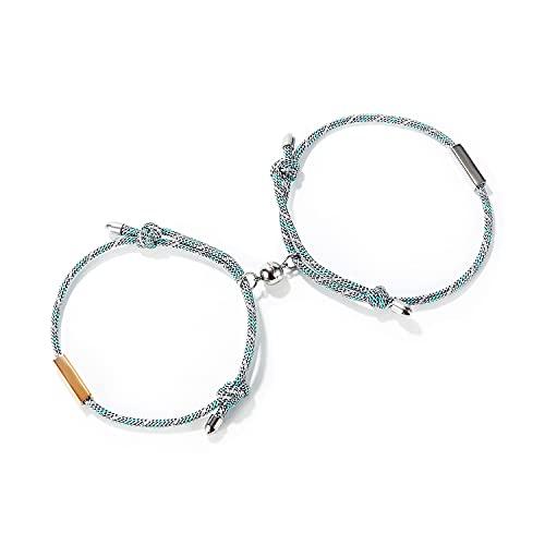 Par de pulseras magnéticas trenzadas para parejas, pulseras de la amistad, regalo para los amantes