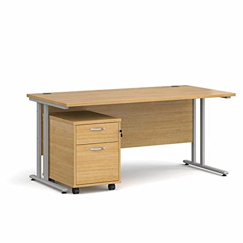 Maestro - Juego de 25 escritorios, 800 mm de profundidad, recto, pedestal móvil con 2 cajones con patas voladizas, color roble, 160 cm