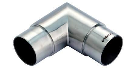 CROSO Eckbogen rund 90 Grad für Rohr Durchmesser 42,4 x 2 mm, Maß A 55 mm, Edelstahl geschliffen V2A, 1 Stück,35500