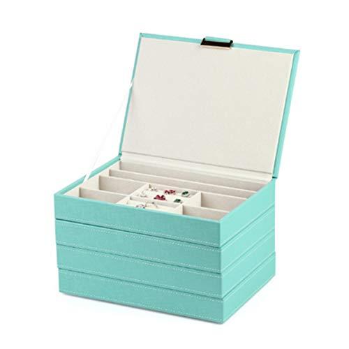 SETSCZY Caja Joyero para Mujeres Grande con 4 Cajones para Anillos Aretes Pendientes Collares Almacenamiento Moderna,Verde