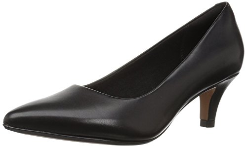 Clarks Women's Linvale Jerica Pump, Black Leather, 6W