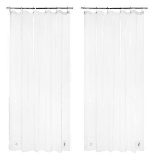 AmazerBath 2 Pack Thin Shower Curtain Liners, 36' W x 72' H PEVA 3G Shower Curtains with Heavy Duty 6 Stones and Rust-Resistant Grommet Holes, Waterproof Plastic Liners Without Funky Smell- Clear