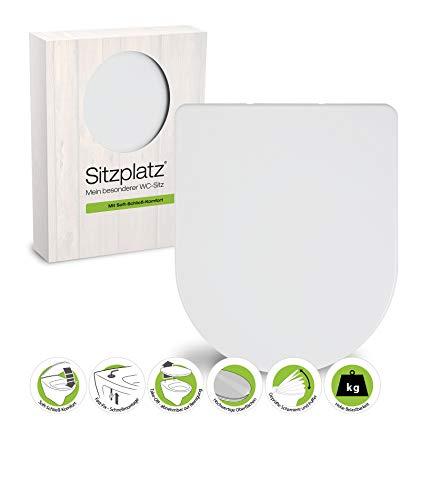 SITZPLATZ® WC-Sitz mit Absenkautomatik Style, D-Form, Weiß, überlappend, antibakterieller Duroplast, abnehmbar, Edelstahlscharnier, Fast-Fix Befestigung, überlappende Sandwich-Form, 40033 6