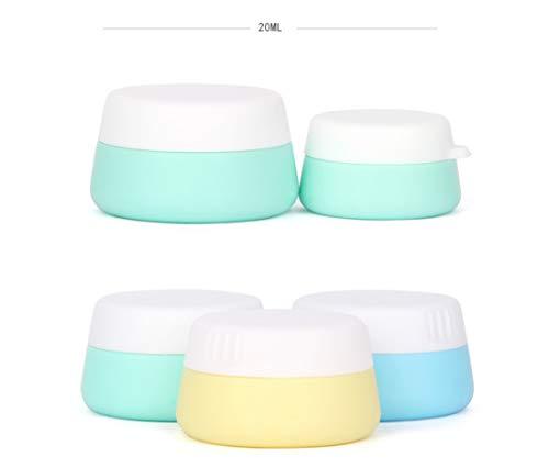 Songlela Silicona Cosmética Contenedores Tarro de Crema, Libre de BPA para Aceites Esenciales de Viaje Uñas Polvo Crema Envase, Exquisita Botella de Silicona con Tapa Sellada - 20 ML, 3 Pedazos
